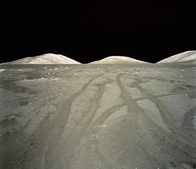 Exploration Of Space Photograph - Lunar Surface, Tracks Of Lunar Roving Vehicle (lrv) In Dust by World Perspectives