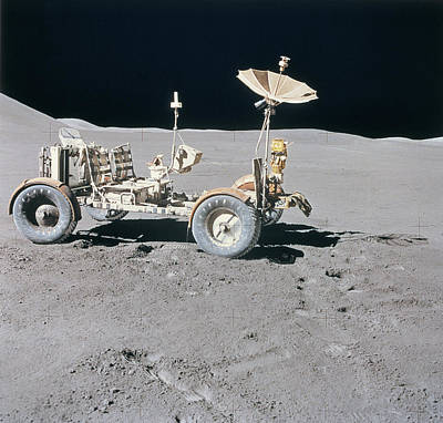 Lunar Vehicle On The Surface Of The Moon Art Print by Stockbyte