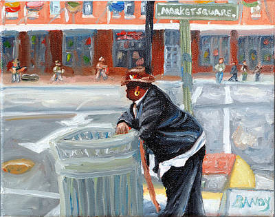 City Scape Painting - Lunch Time Guy On The Market by Todd Bandy