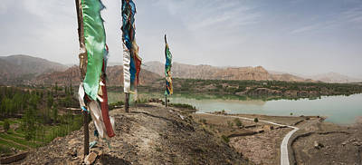 Tibetan Buddhism Photograph - Lunda Poles Near Yellow River. View by Phil Borges