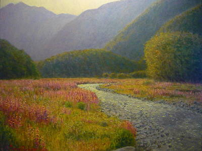 Painting - Lupins Cascade Creek by Terry Perham