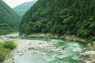 Lush Green Volcanic River Gorge, Kyoto, Japan Print by Ippei Naoi