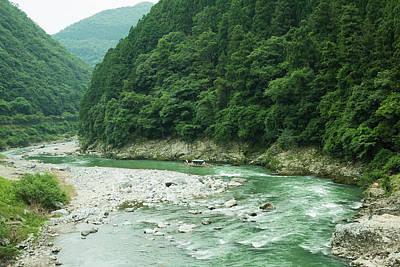 Lush Green Volcanic River Gorge, Kyoto, Japan Art Print by Ippei Naoi