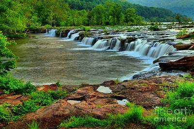 Photograph - Lush Sandstone Falls by Adam Jewell