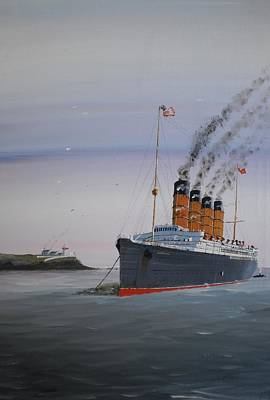 Ocean Liner Painting - Lusitania At Roches Point by James McGuinness