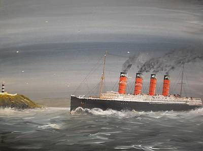 Southampton Painting - Lusitania Off The Old Head by James McGuinness