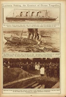 Lusitania Sinking The Greatest Of Ocean Art Print by Everett