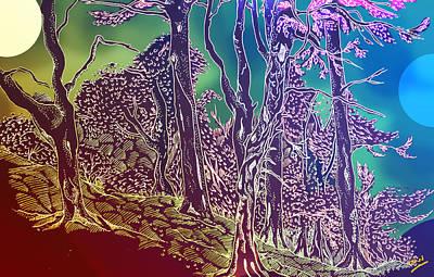 Woodlands Scene Drawing - Lymphoy Fantasy Sketch by Grant  Wilson