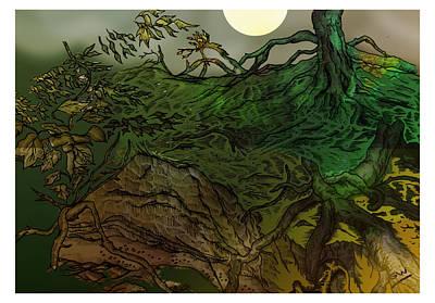 Lymphoy Night Drawing Art Print by Grant  Wilson