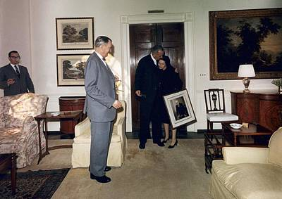 Lyndon And Lady Bird Johnson Moving Print by Everett