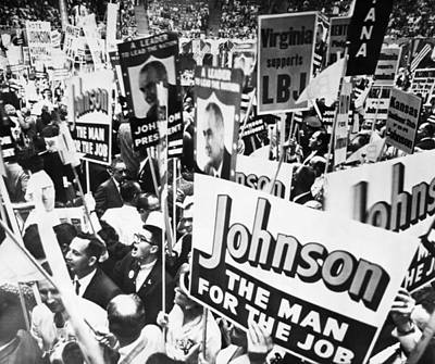 Lyndon Photograph - Lyndon Johnson. Delegates Supporting Us by Everett