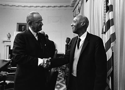 Lyndon Photograph - Lyndon Johnson Shakes Hands With A by Everett
