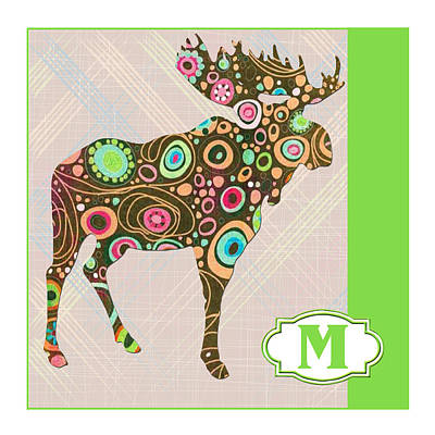 Education Painting - M Is For Moose by Elaine Plesser