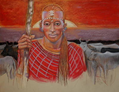 Painting - Maasai Cattleman by Pamela Mccabe