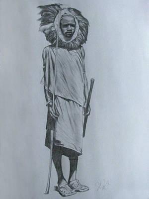 Primitive Drawing - Maasai Hunter by Serenity Baumer