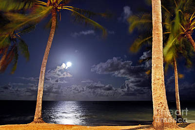 Maceio - Brazil - Ponta Verde Beach Under The Moonlit Art Print