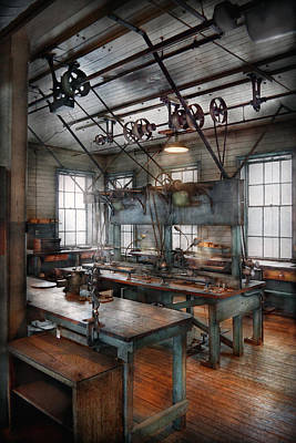 Machinist - Steampunk - The Contraption Room Art Print by Mike Savad