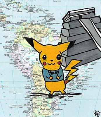 Iconic Drawing - Machu Pikachu by Jera Sky