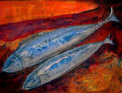 Saba Painting - Mackerels In The Sunset by Aquira Kusume