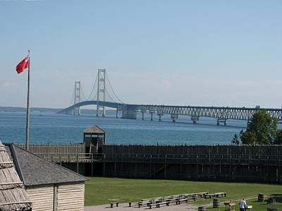 Photograph - Mackinac Bridge And Fort Michilimackinac by Keith Stokes