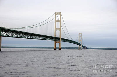 Photograph - Mackinac Bridge From Water 2 by Ronald Grogan
