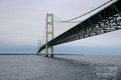 Photograph - Mackinac Bridge From Water by Ronald Grogan