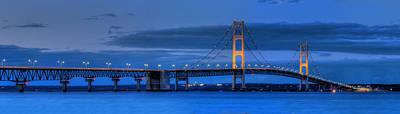 Mackinac Photograph - Mackinac Bridge In Evening by Twenty Two North Photography
