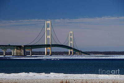 Photograph - Mackinac Bridge In Winter 2 by Grace Grogan