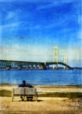 Mackinac Bridge With Couple On Bench Print by Jill Battaglia