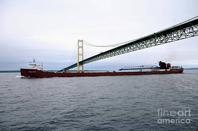 Photograph - Mackinac Bridge With Ship by Ronald Grogan