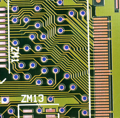 Macrophotograph Of Printed Circuit Board Art Print by Dr Jeremy Burgess