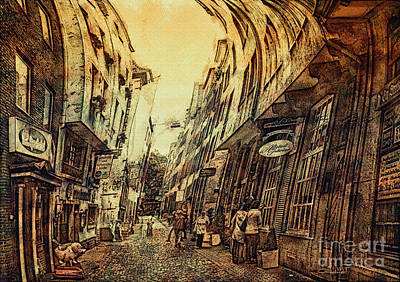 Old Town Digital Art - Mad Alley by Jutta Maria Pusl