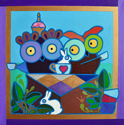 Painting - Mad Owl Tea by Jenny Valdez