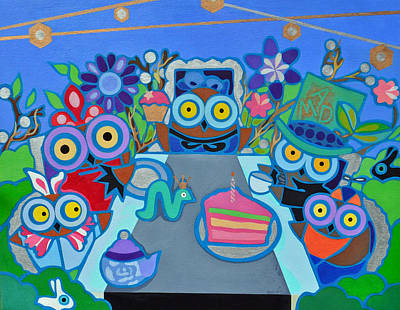 Painting - Mad Owls Tea by Jenny Valdez