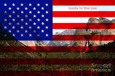 Made In The Usa . Yosemite Art Print by Wingsdomain Art and Photography