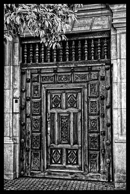 Art Print featuring the photograph Maderia Door In Black by Rick Bragan