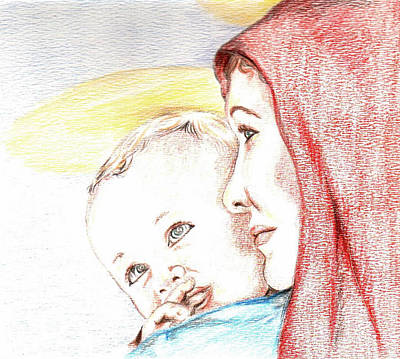 Special Occasion Drawing - Madonna And Baby Jesus by Denny Phillips