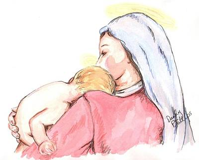 Special Occasion Drawing - Madonna And Child II by Denny Phillips