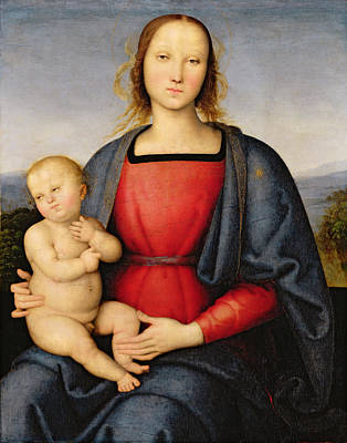 Tempera Painting - Madonna And Child by Pietro Perugino