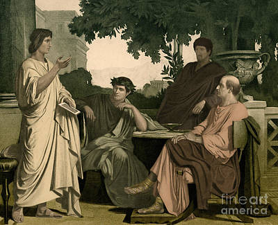 Varius Photograph - Maecenas With Virgil, Horace And Varius by Photo Researchers