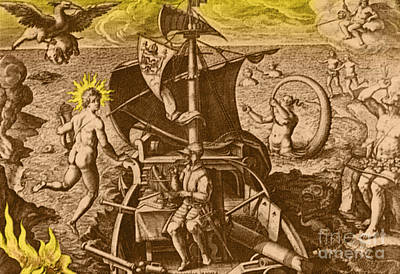 Of Mermaid Photograph - Magellan Setting Out To Sea, 1519 by Photo Researchers