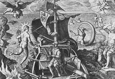 Of Mermaid Photograph - Magellan Setting Out To Sea, 1519 by Science Source