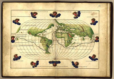Library Of Congress Photograph - Magellan's Route, 16th Century Map by Library Of Congress, Geography And Map Division