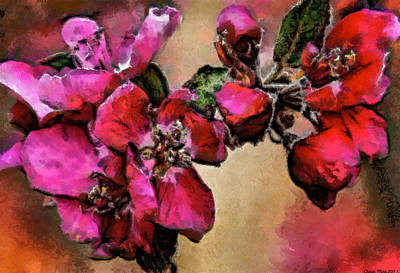 Digital Art - Magenta Flowers by Charles Muhle