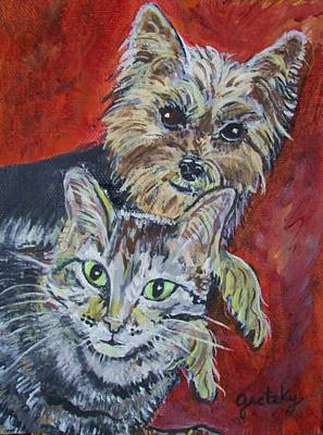 Maggie Mae And Buddy Print by Paintings by Gretzky
