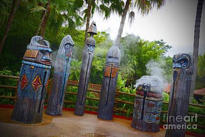 Magic Kingdom - Tiki Statues Art Print by AK Photography