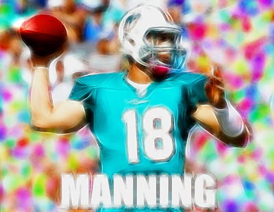 Miami Dolphins Drawing - Magical Peyton Manning Miami Dolphins by Paul Van Scott