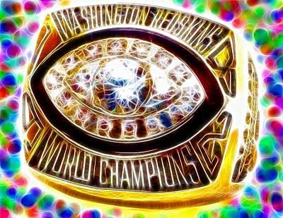 Bling Mixed Media - Magical Redskins 1982 Super Bowl Ring by Paul Van Scott