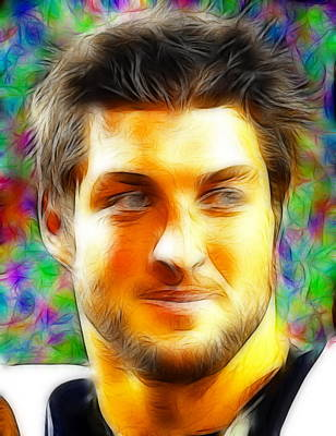Tim Tebow Painting - Magical Tim Tebow Face by Paul Van Scott