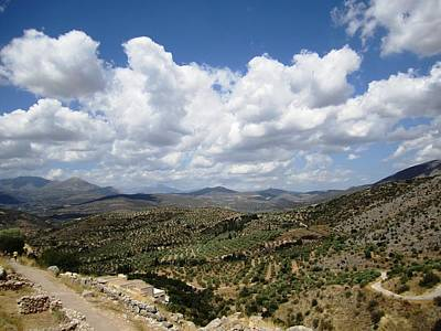 Photograph - Magnificent Mountain Range And Valley View From The Ancient Hilltop In Mycenae Greece by John Shiron